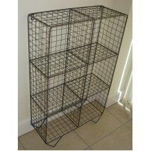 Vintage Industrial Style Metal Wire Locker Room 6 Shelf Floor Standing Storage Unit