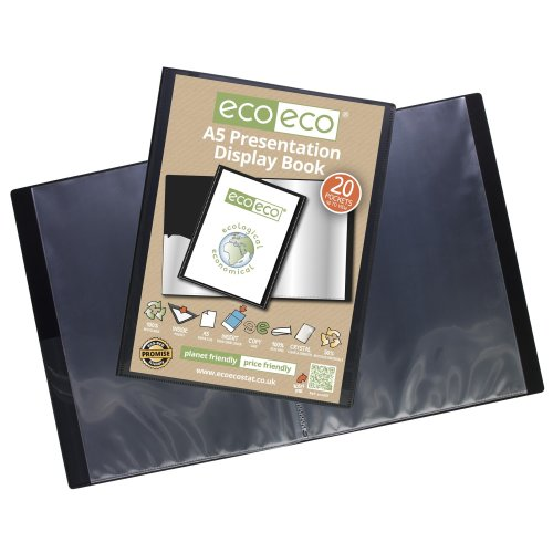 3 x A5 Recycled 20 Pocket / 40 Views Presentation Display Book - Black