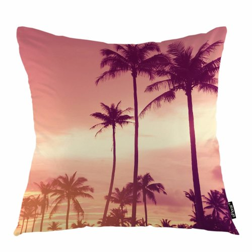 "Melyaxu Palm Tree Throw Pillow Cover Tropical Plant Sun Light Sunset Sky Decorative Square Pillow Case 18""X18"" Pillowcase Home Decor for Sofa Bedroom"