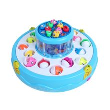Electronic Toy Fishing Set Rotating Fish Game Toy with Music, Blue
