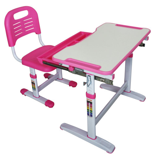 Mini Height-Adjustable Pink Kids' Desk & Chair Set