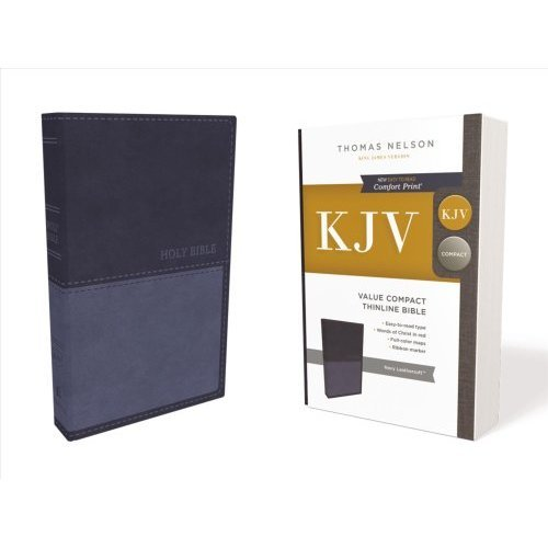 KJV, Value Thinline Bible, Compact, Leathersoft, Blue, Red Letter Edition, Comfort Print