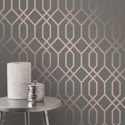 Fd42307 Elegant Textured Quartz Trellis Silver Copper Glitter