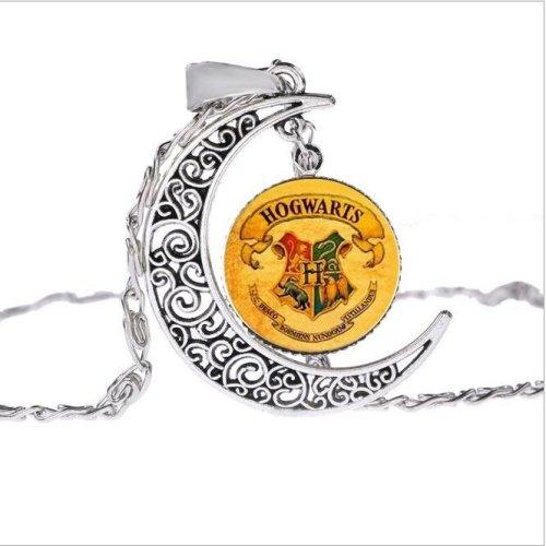 Harry Potter Hogwarts School Crest Moon Necklace