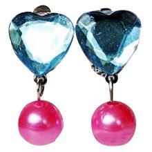 Set Of 3 Blue Heart No pierced Ear Clip Crystal Diamond Lovely earring