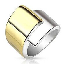 Two Tone Steel and Gold Plated Overlapping Belt Buckle Design Surgical Steel 19mm Width Ring