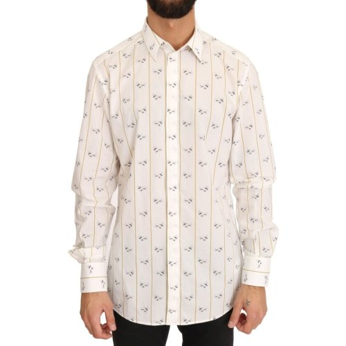 Dolce & Gabbana White Yellow Bee Print Cotton Shirt