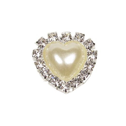 10 x Heart Shaped Pearl and Diamante Embellishments Silver Rhinestone With Pearl Center