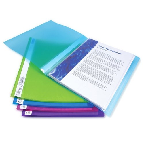 Rapesco A4 Flexi Display Book, 20 Pockets. Assorted Colours, Pack of 10