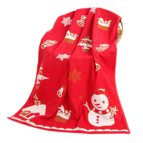 Large Soft Beach Towels 140*70cm Snowman Pattern, Red
