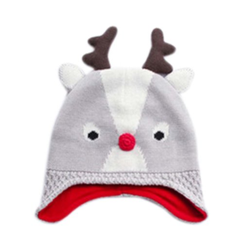 Warm Hat Knitted Hat Plus Velvet Ear Protection Hat GRAY reindeer Pattern