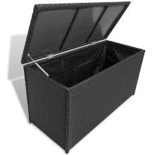 vidaXL Garden Storage Chest Poly Rattan Black