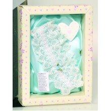 Keepsake Cream Lace Garter -  wedding day keepsake lace garter novelty gift box present cream