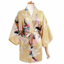 Yellow - Women s Silk-like Pajamas Short Bathrobe Kimono Robe  Peacock Blossoms 4a3541cca