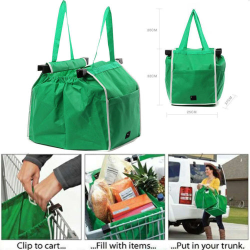 5X Strong Reusable Supermarket Shopping Mall Trolley Tote Grocery Bags