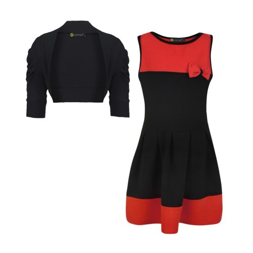 Girls Bow Dress Bundle with Cropped Shrug