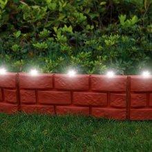 12 X Brick Effect Garden Edging with LED Light - Terracotta