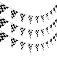 10 Meters Checkered Pennant Banner Racing Flag Party Flag Banner Accessory for Race Theme Birthday Party Decoration