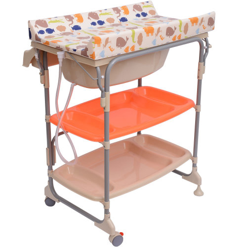 Homcom Baby Changing Table Station Storage Trays and Bath with Tub