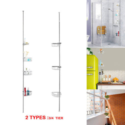 3/4 Tier Telescopic Bathroom Rack Corner Shelf