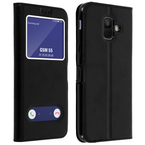 Double window flip standing case for Samsung Galaxy A6 with TPU shell - Black