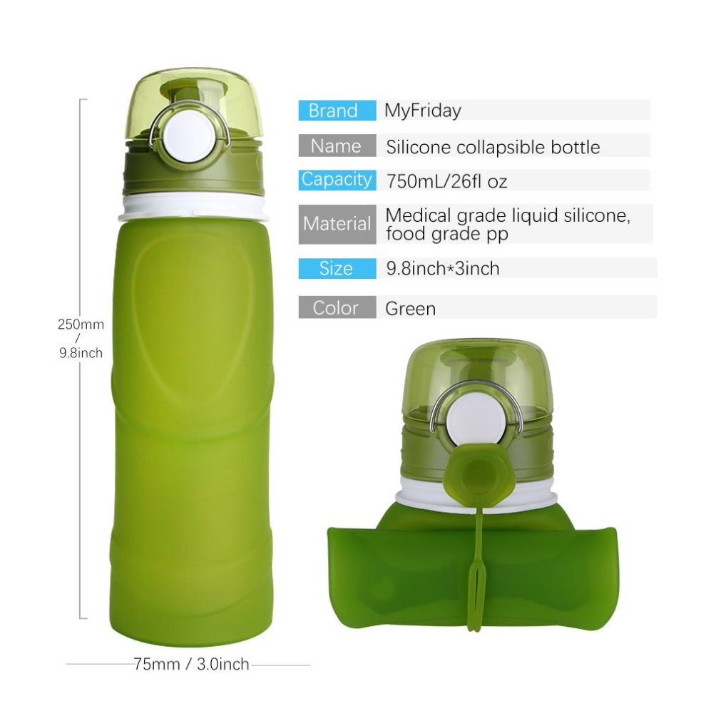 VICTANZ Silicone Collapsible Water Bottles Sports Camping Canteen Best  Drinking Bottle 26 Oz/750ml Medical Grade BPA Free (Army Green)