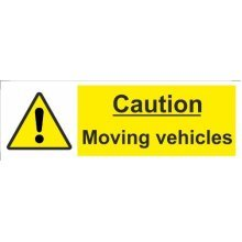 Hazard Sign Moving Vehicles Self Adhesive Vinyl 300mm x 100mm - Castle -  sign moving vehicles x 100mm castle promotions adhesive 300mm caution vinyl