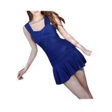 Graceful Female Small Chest Gather Swimming Apparel, Navy blue