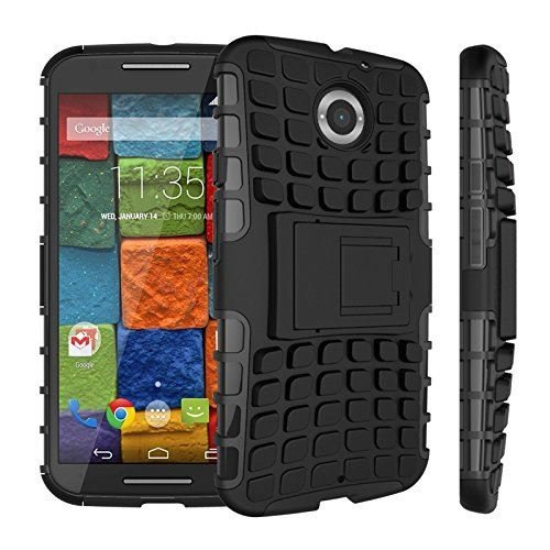 InventCase Motorola Moto X (2nd Generation) 2014 Heavy Duty Shockproof Case Cover with in Built Stand and Screen Protector – Black