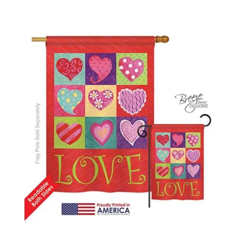 Breeze Decor 01046 Valentines Love Hearts Collage 2-Sided Vertical Impression House Flag - 28 x 40 in.