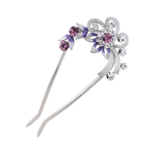 U-shaped Hairpin,Retro Women Girls Rhinestone Hair Pin Hair Stick#B