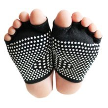Fashion Cotton Semi palm Toe Yoga Socks Non Slip Black Socks