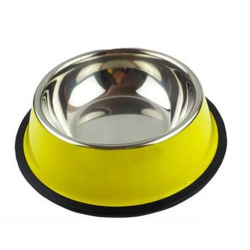 Little Stainless Steel Bowl Set Feeding Pot/Pet Bowl/Dog Bowl/Cat Bowl For Food & Water M Size (Yellow)