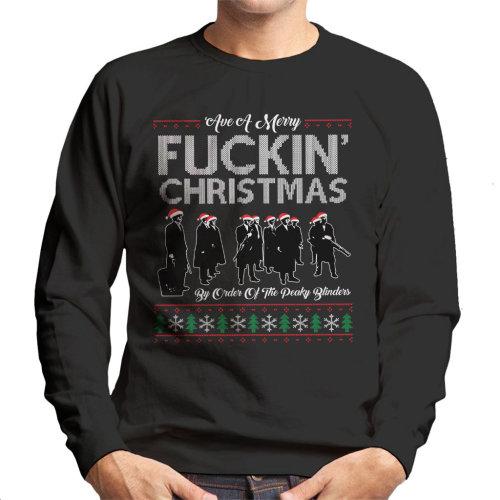 Have A Merry Fuckin Christmas Peaky Blinders Knit Pattern Men's Sweatshirt