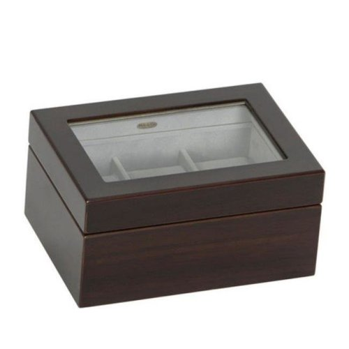 Granby Glass Top Wooden Watch Box In Mahogany Finish