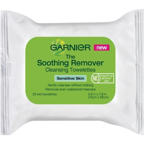 Garnier Soothing Remover Cleansing Towelettes For Sensitive Skin, 25 Count (Pack of 3)