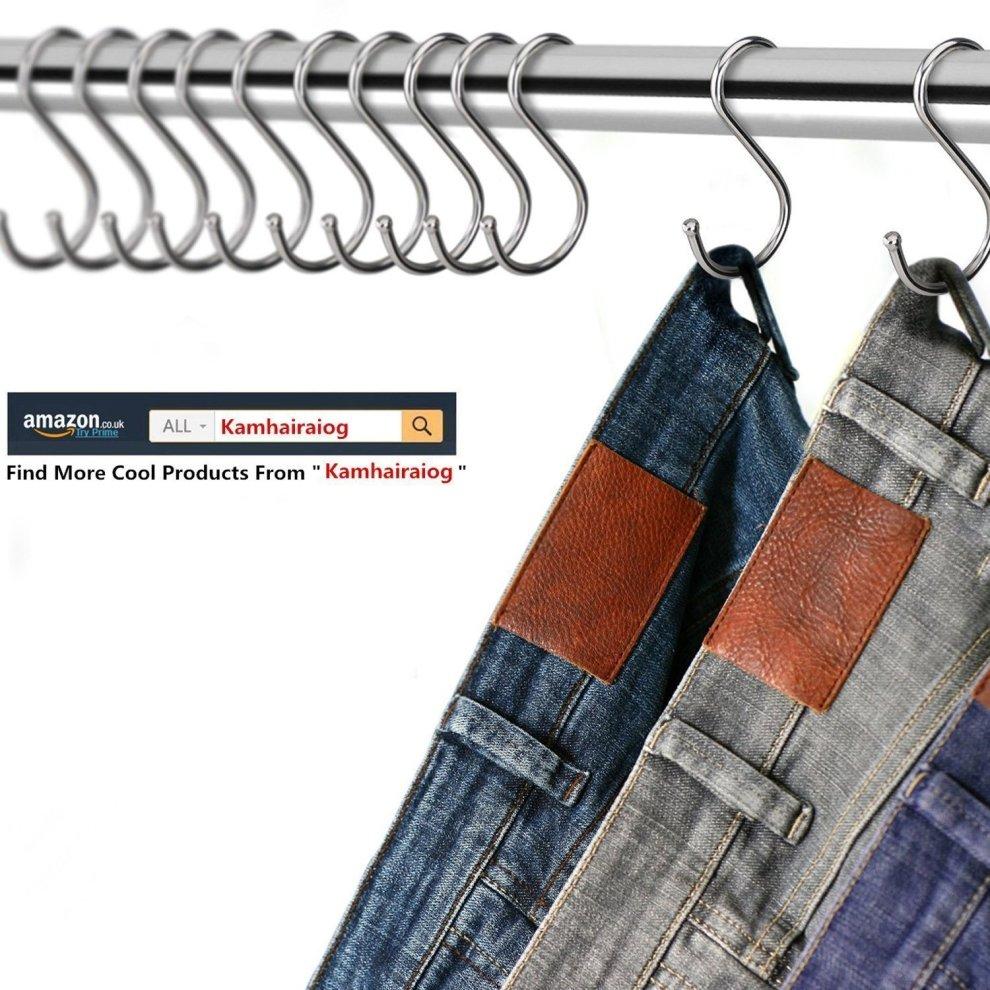 Premium Stainless Steel Metal S Hooks Kitchen Pot Pan Hanger Clothes Storage.. Special Buy Home & Garden