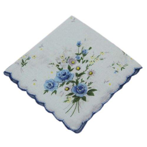 3 Pcs Retro Floral Print Handkerchiefs Ladies Cotton Pocket Handkerchief, #06