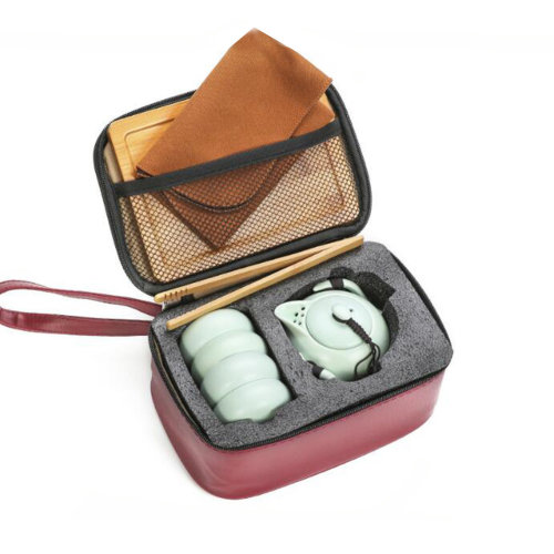Portable Travel Tea Set Chinese Kungfu Tea Set with Beautiful Bags