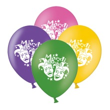 """Mardi Gras Masks  Mix 4 Assorted 12"""" Latex Balloons pack of 10"""