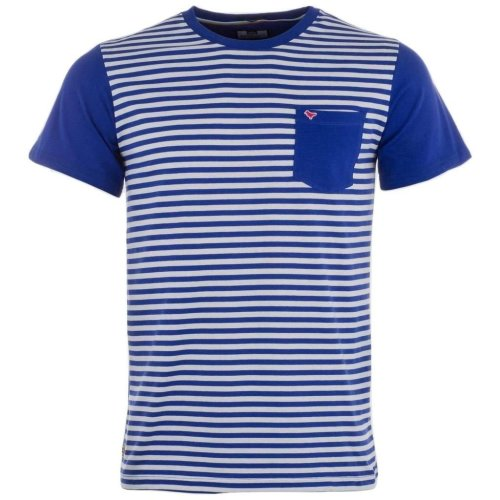 Weekend Offender Men's Birch Striped Crew Neck T Shirt Blue / White Small