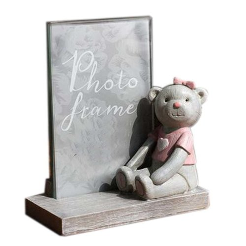 6-inch Photo Frame Lovely Bear Painted Photoframe and Home Decoration, Pink