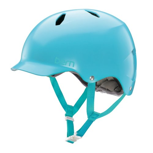 Bern Kids' Bandita EPS Satin Cycling Helmet, Light Blue, Medium/Large