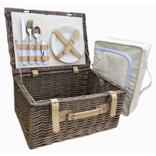 Cream Lined 2 Person Picnic Basket with Chiller