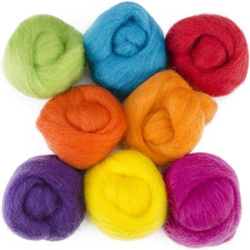 "Wistyria Editions Wool Roving 12"" .25oz 8/Pkg-Fiesta"