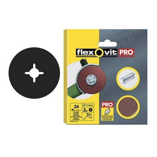 Flexovit 63642527536 Aluminium Oxide Fibre Discs 125mm Extra Coarse 36g Pack of 3