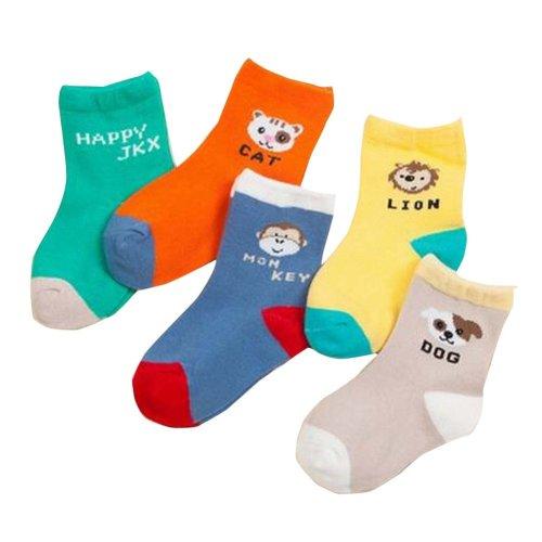 5 Pairs Breathable Cotton Kids Socks Cute Animal Socks