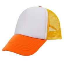 Children Baseball Cap Fitted Hat Sports Mesh Back Cap, Orange Yellow White