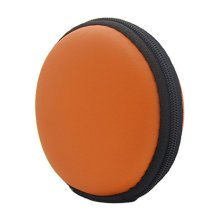 Portable PU Leather Earbuds Case Earphone Holder Earbud Pouch Coins Bag, Orange