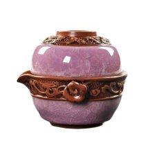 Outdoors Travel Ice-crack Tea Set Exquisite Tea Service -Purple